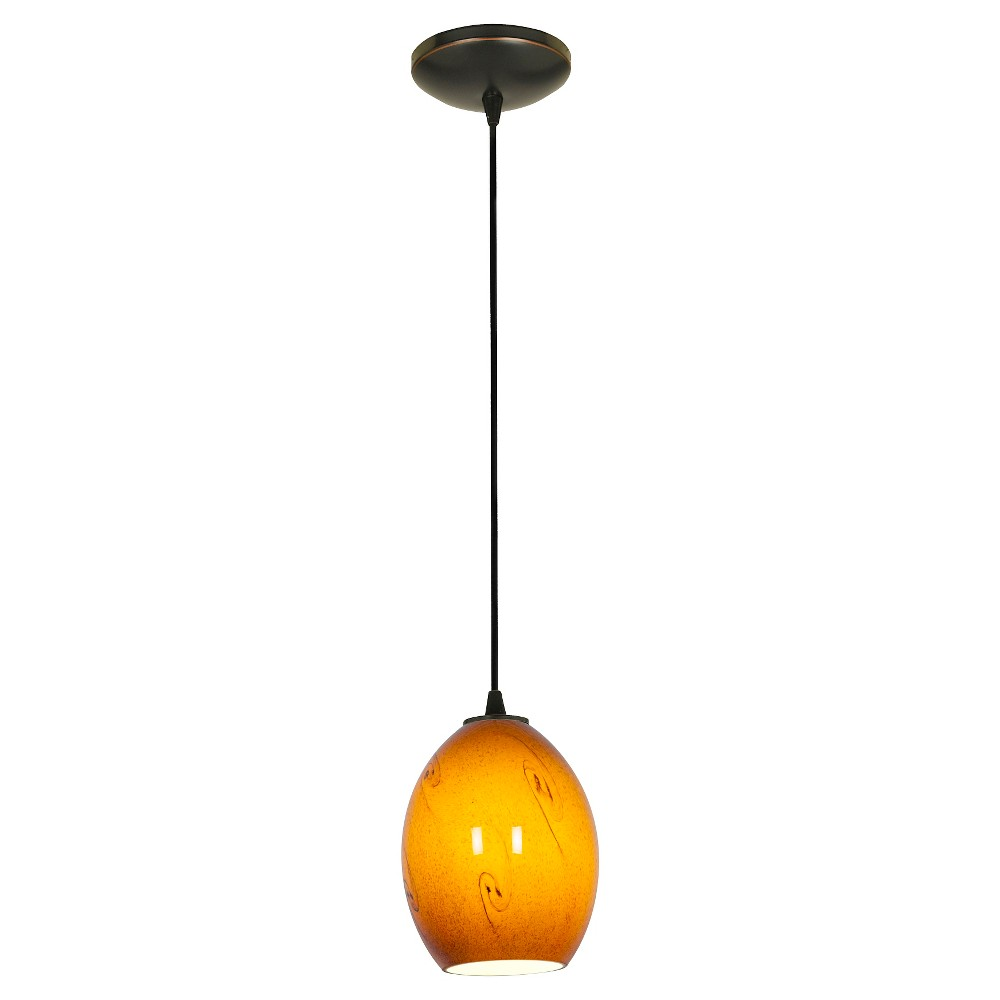 Brandy FireBird Pendant with Amber Sky Glass Shade - Oil Rubbed Bronze