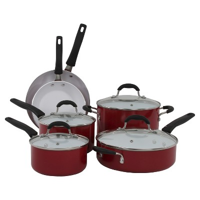Oneida 12 Piece Black Forged Aluminum Cookware Set With Glass Lids And A Non-Stick Interior