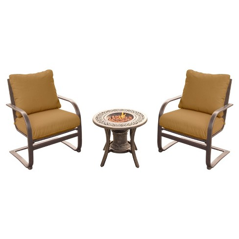Summer Nights 3pc Metal Patio Chat Set w/ Fire Pit Side Table - Tan - Hanover - image 1 of 9