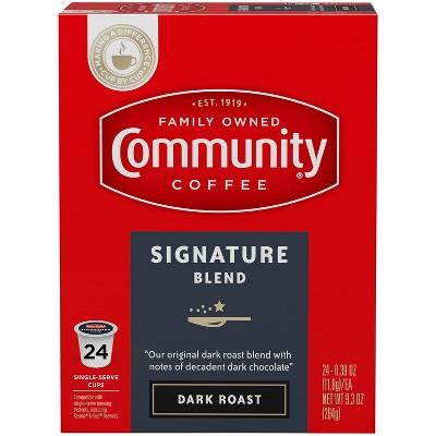 Community Coffee Dark Roast Single Serve Pods - 24ct