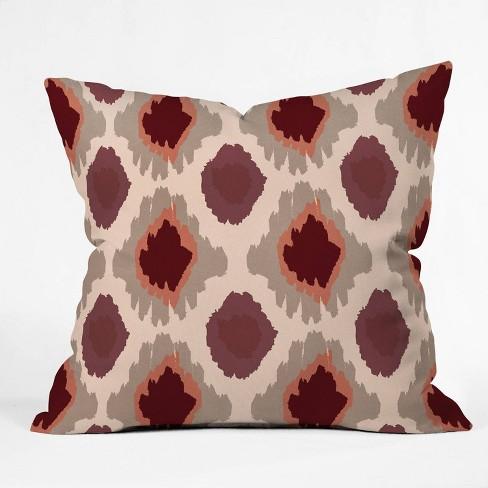 Allyson Johnson Bohemian Marsala Ikat Square Throw Pillow Red Deny Designs Target