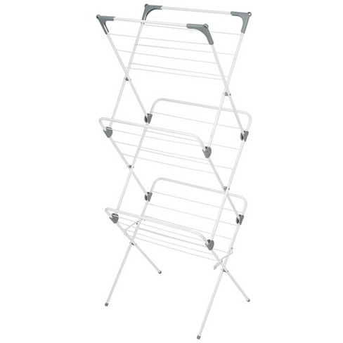 mDesign Tall Collapsible Foldable Laundry Drying Rack, 27 Sections - White/Gray - image 1 of 4