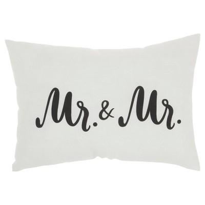 """14""""x20"""" Mr. & Mr. Throw Pillow White - Kathy Ireland Home"""