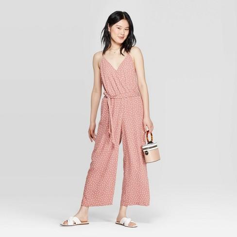 6dbbeb1a1b Women's Polka Dot Sleeveless V-Neck Jumpsuit - A New Day™ Pink : Target