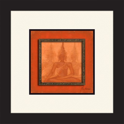 """14.5"""" x 14.5"""" Matted to 3"""" Red Buddha Picture Frame Black - PTM Images"""