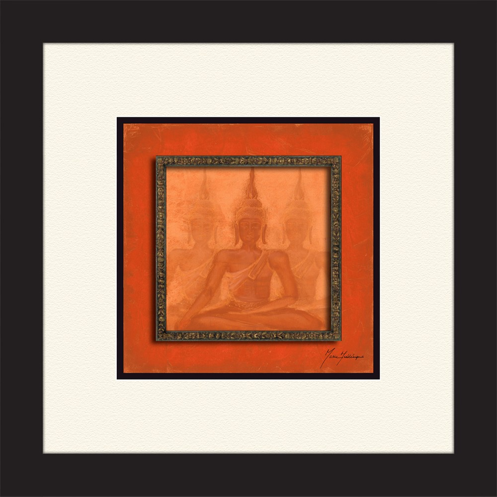 14 5 34 X 14 5 34 Matted To 3 34 Red Buddha Picture Frame Black Ptm Images