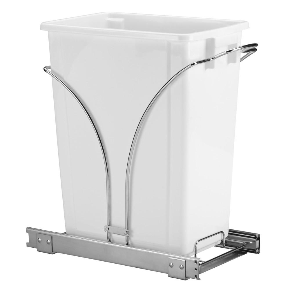 Household Essentials No-lid Trash Can Chrome (Grey) White