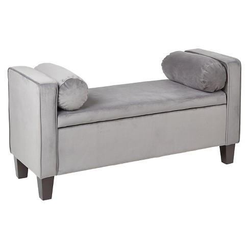 Cordoba Storage Bench With Pillows Charcoal - INSPIRED by Bassett - image 1 of 6