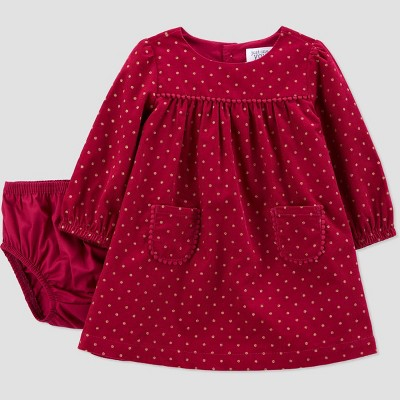 Baby Girls' Dot Corduroy Long Sleeve Dress with Diaper Cover - Just One You® made by carter's Gold Newborn