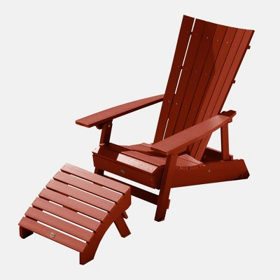 Manhattan Beach 2pc Adirondack Chair with Ottoman Rustic Red - highwood