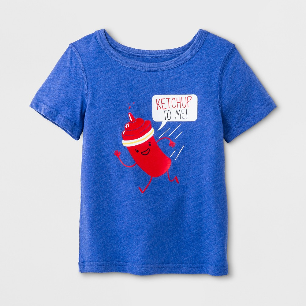 Toddler Boys' Adaptive Short Sleeve Ketchup Graphic T-Shirt - Cat & Jack Blue 5T