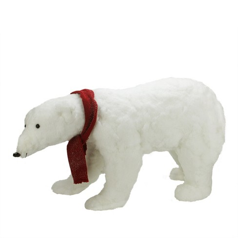 "Northlight 30"" Commercial Walking Plush White Polar Bear Christmas Decoration"