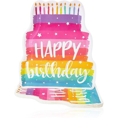 Blue Panda 15-Pack Happy Birthday Paper Serving Trays, Cute Rainbow Cake Die-Cut Disposable Food Tray Plates