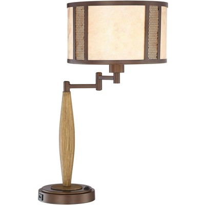 Franklin Iron Works Mission Rustic Swing Arm Table Lamp with USB Charging Port Wood Grain Bronze Natural Mica Shade Bedroom Office