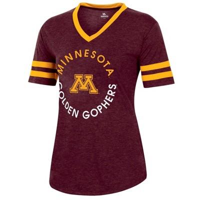 NCAA Minnesota Golden Gophers Women's Short Sleeve V-Neck Heathered T-Shirt