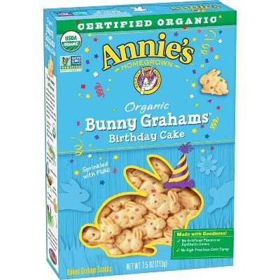 Annie's Organic Birthday Cake Bunny Grahams Baked Snacks - 7.5oz