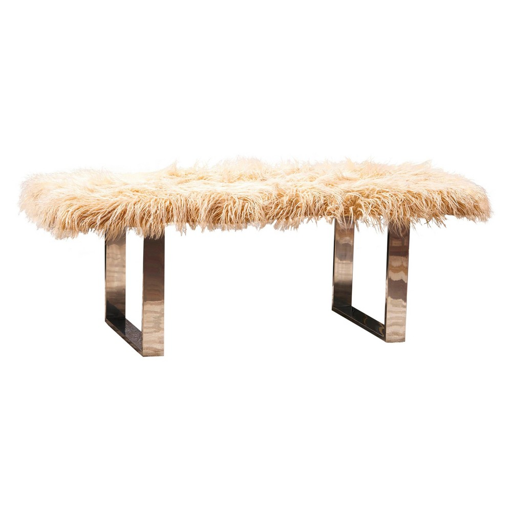 Damie Furry Ottoman - Gold - Christopher Knight Home