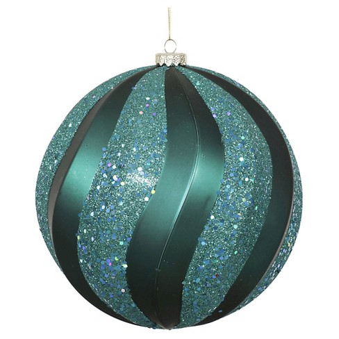 "8"" Emerald Matte/Glitter Swirl Ball Christmas Ornament - image 1 of 1"