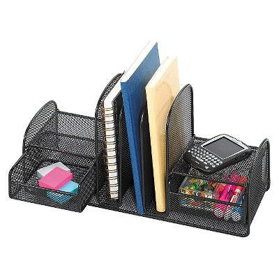 Safco® Onyx Mesh Desk Organizer, Three Sections/Two Baskets, 17 x 6 3/4 x 7, Black