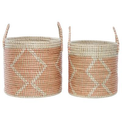 2pk Round Seagrass Storage Baskets with Handles