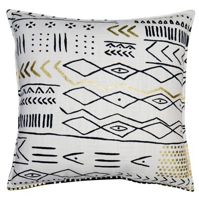 Hand Woven Printed Throw Pillow (24 )- Black/White - Room Essentials™