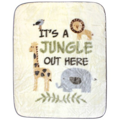 Hudson Baby Unisex Baby High Pile Plush Blanket Its A Jungle Out Here - One Size