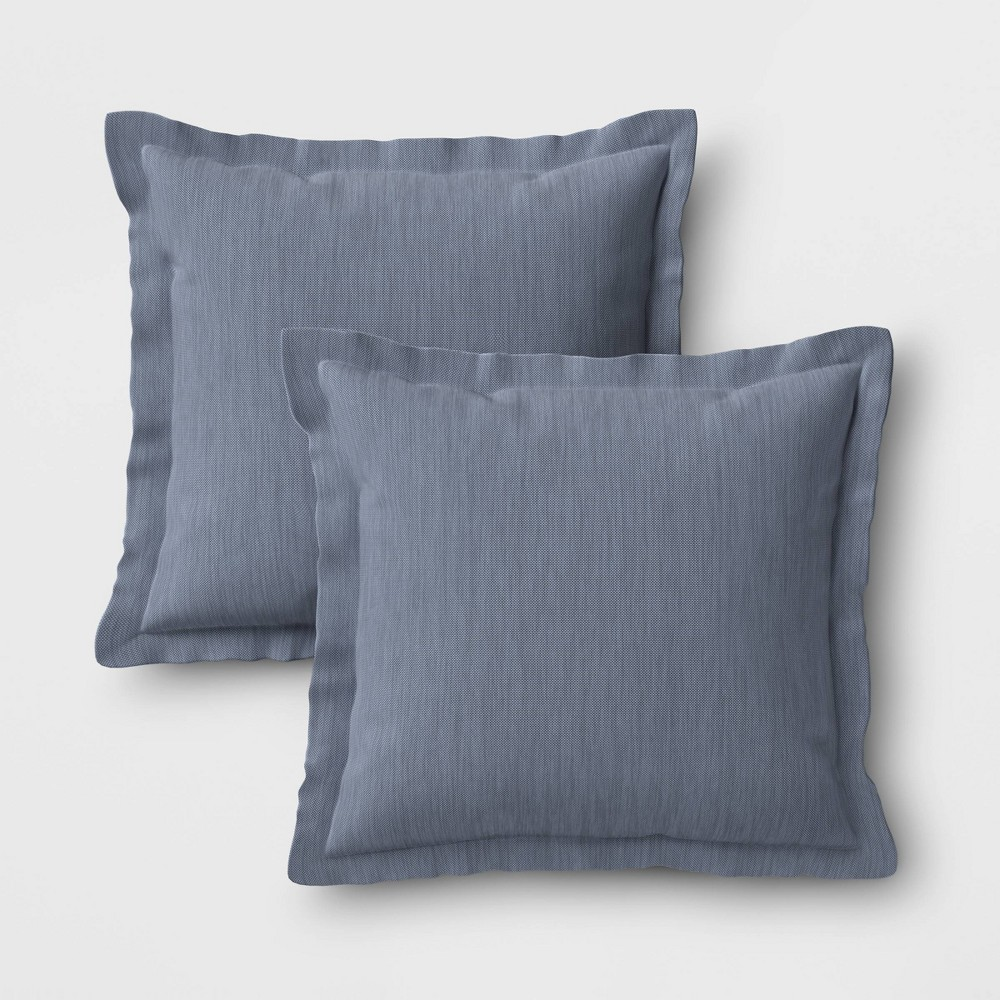Image of 2pk Outdoor Throw Pillows DuraSeason Fabric Chambray - Threshold