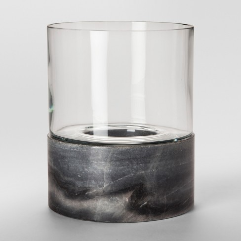 Glass And Marble Hurricane Candle Holder Large Gray Project 62
