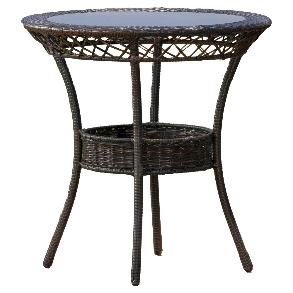 Figi Wicker 27 Round Glass Patio Dining Table - Brown - Christopher Knight Home