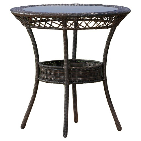 "Figi Wicker 27"" Round Glass Patio Dining Table - Brown - Christopher Knight Home - image 1 of 4"