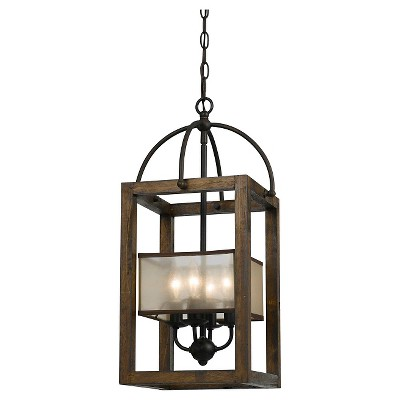 Cal Lighting Mission wood and Metal 4 light Chandelier