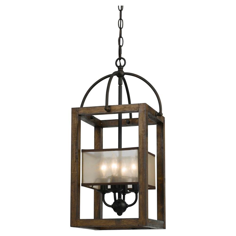 Cal Lighting Mission wood and Metal 4 light Chandelier, Bronze