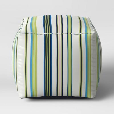 Decorative Pouf DuraSeason Fabric™ Green Stripe - Threshold™