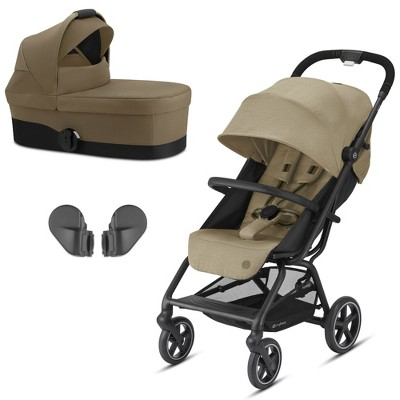 Cybex Eezy S+2 3 in 1 Baby Toddler Infant Folding Travel System Stroller Bundle with Removable Canopy Bed and Frame Adapters, Classic Beige