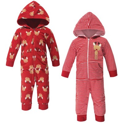 Hudson Baby Infant Fleece Jumpsuits, Coveralls, and Playsuits 2pk, Red Reindeer