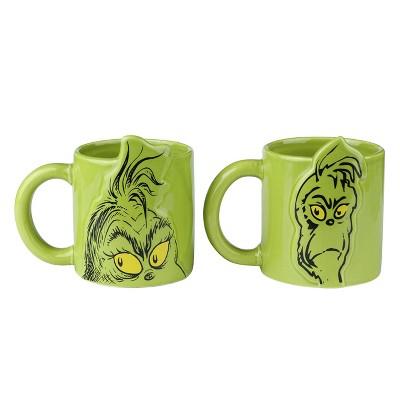 Dr. Seuss The Grinch 20oz 2pk Ceramic Mugs Green - Vandor