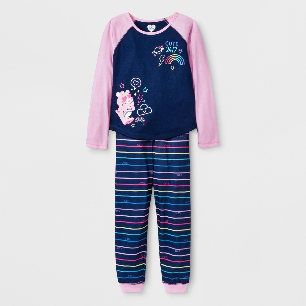 Girls' Care Bears 2pc Pajama Set - Navy/Pink XS, Purple