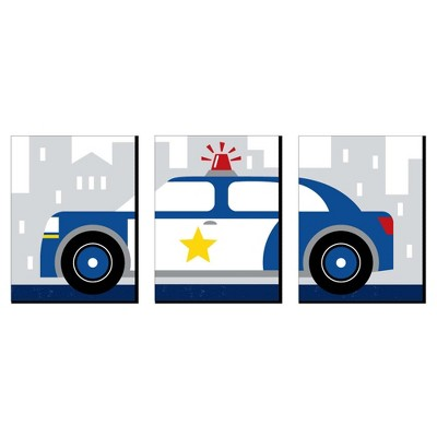 Big Dot of Happiness Calling All Units - Police - Cop Car Nursery Wall Art and Kids Room Decor - 7.5 x 10 inches - Set of 3 Prints