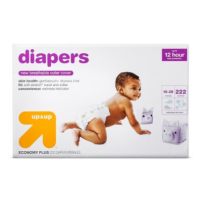 Diapers Bulk Plus Pack Size 3 (222ct)- Up&Up™