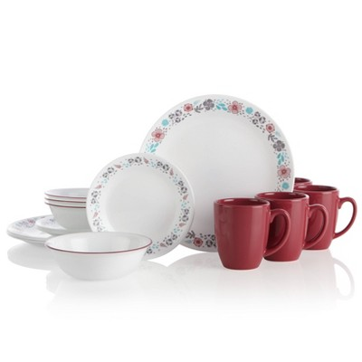 Corelle 16pc Glass Nordic Bloom Dinnerware Set