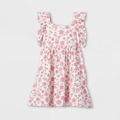 Girls' Tiered Woven Flutter Sleeve Dress - Cat & Jack™ Cream