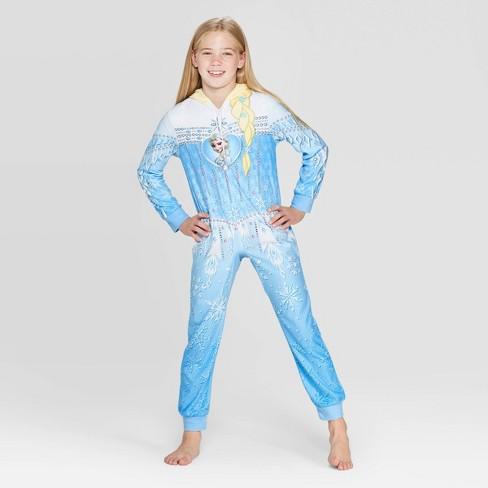 Girls' Frozen Blanket Footed Sleeper - Blue - image 1 of 3