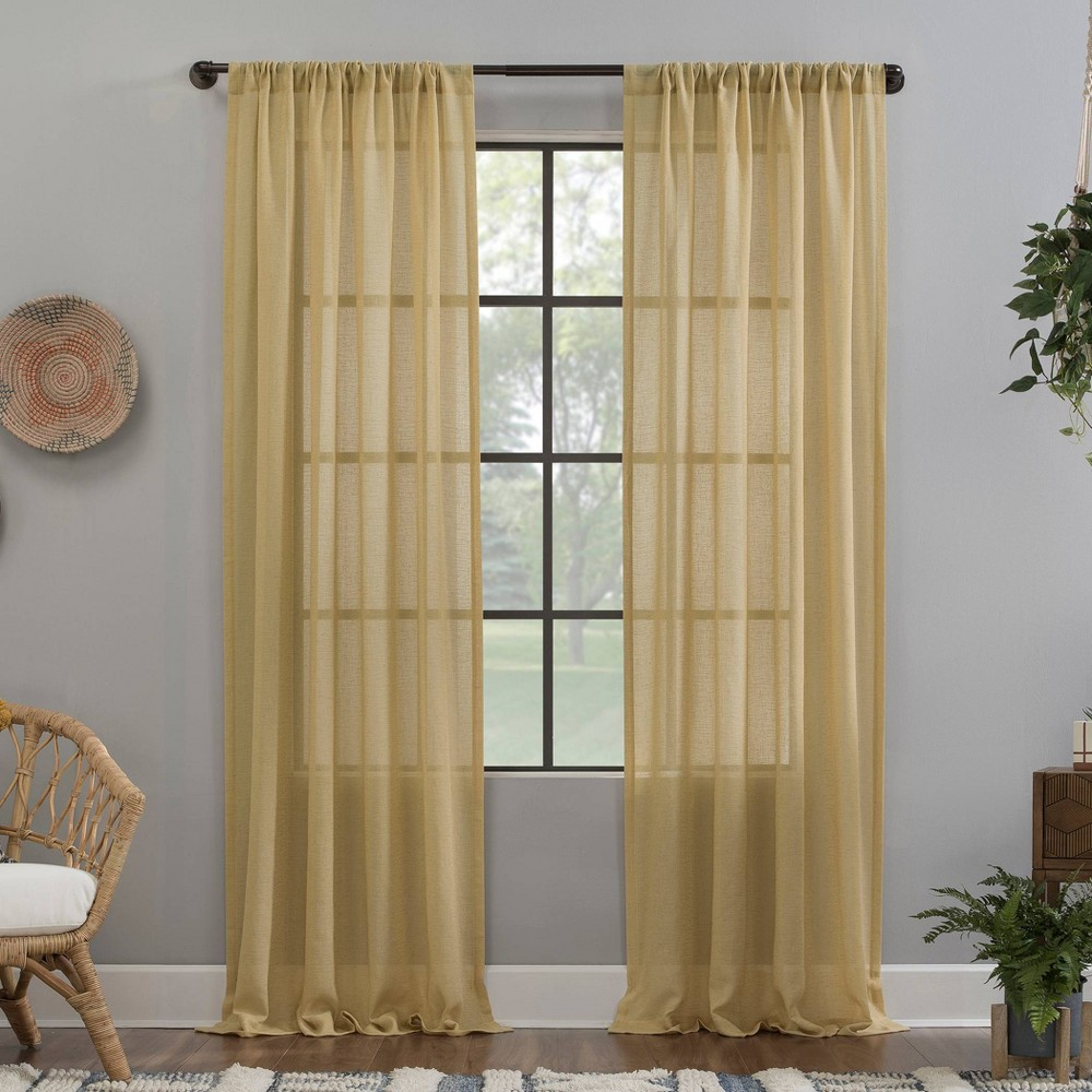 "Image of ""52""""x63"""" Crushed Texture Anti-Dust Sheer Curtain Panel Yellow - Clean Window"""