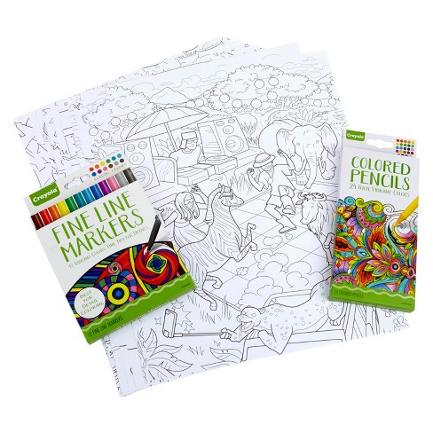 Crayola Family Escapes Coloring Kit Adult Coloring Gift 60 Pcs