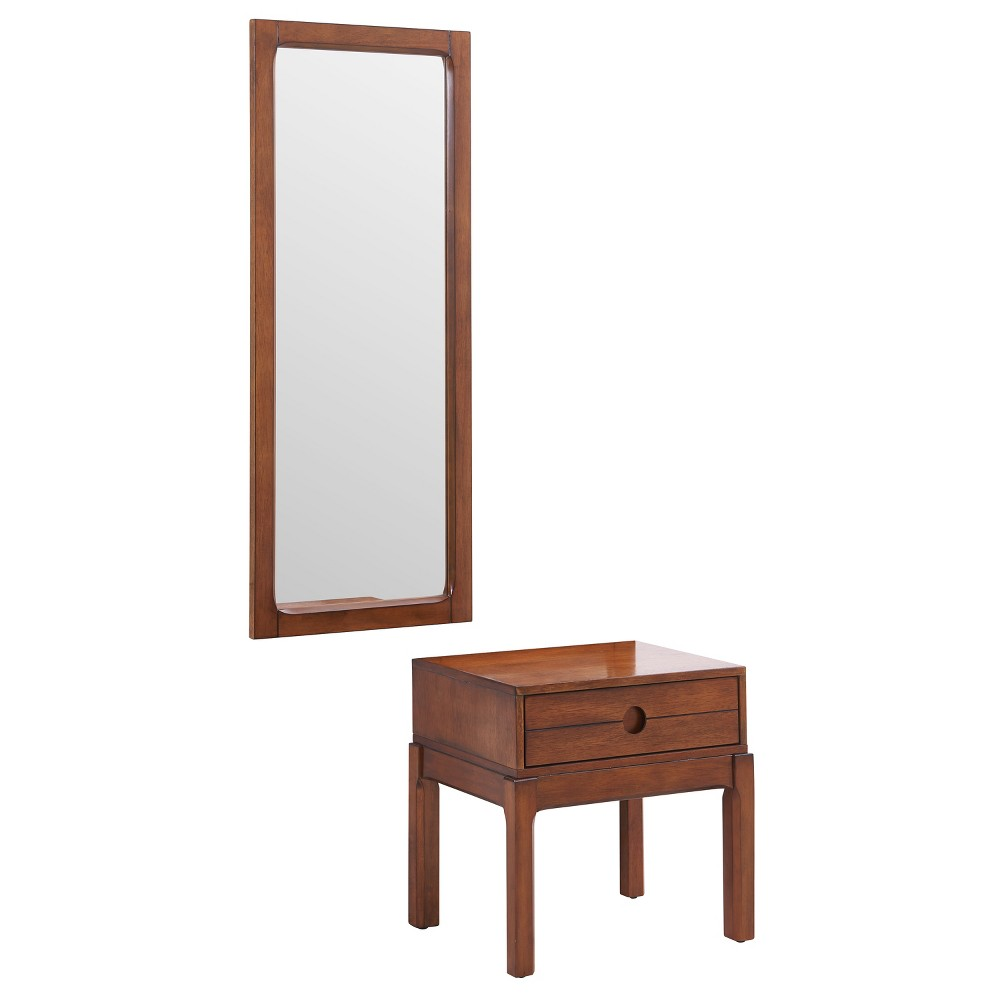 Watson Entryway Mirror and Storage Accent Table Brown - Aiden Lane