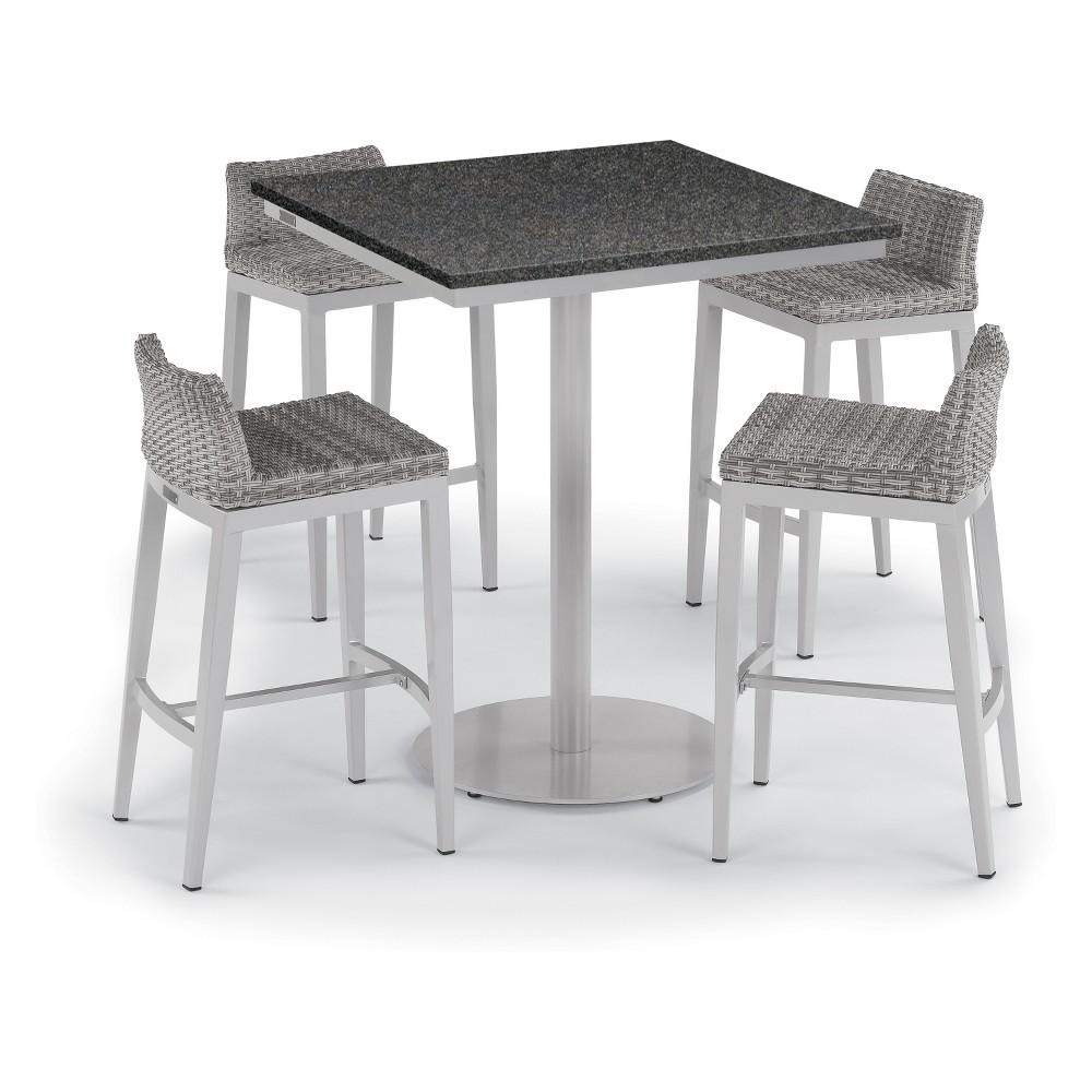 5pc Travira 36 Square Bar Table & Argento Bar Stool Set Stone Gray - Oxford Garden