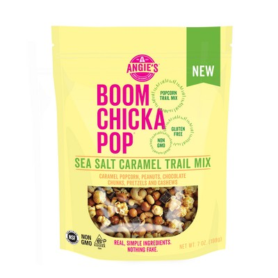 view Angie's Boom Chicka Pop Sea Salt Caramel Trail Mix - 7oz on target.com. Opens in a new tab.