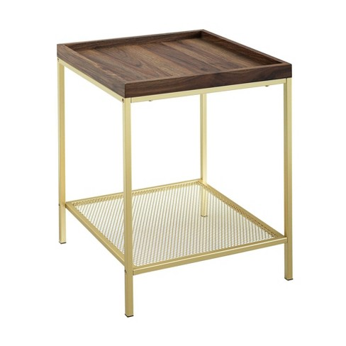 Glam Square Tray Side Table With Metal Mesh Shelf Dark Walnut Gold Saracina Home