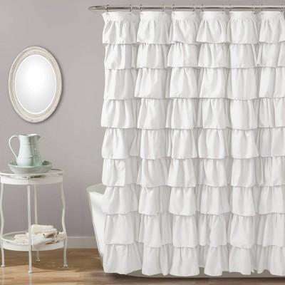 Large Ruffle Shower Curtain White - Lush Décor