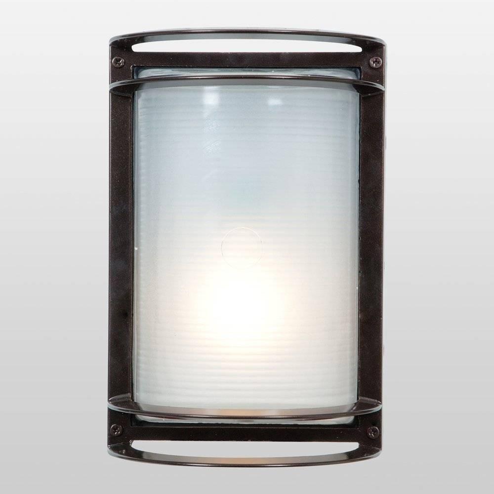 Image of Nevis LED Outdoor Wall Light with Ribbed Frosted Glass Shade Bronze - Access Lighting